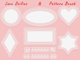 Set of lace elements, vintage paper doily and openwork pattern brush, template for cutting, greeting element, laser cut.