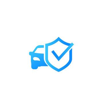 car and shield icon, vector mark