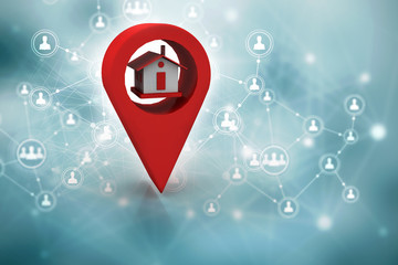 3d illustration Search for Property.a Map with Large Red GPS Pointer containing