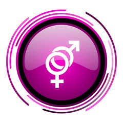 Sex pink glossy web icon isolated on white background