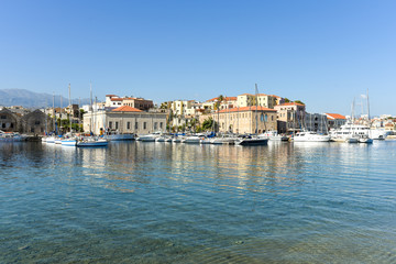 Canvas Prints Port View of the Venetian port of Chania with the center of mediterranean architecture, ships and pleasure boats