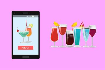 Cocktails Mobile Application Vector Illustration