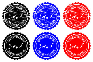 Canary Islands - rubber stamp - vector, Canary Islands ( Islas Canarias) map pattern - sticker - black, blue and red