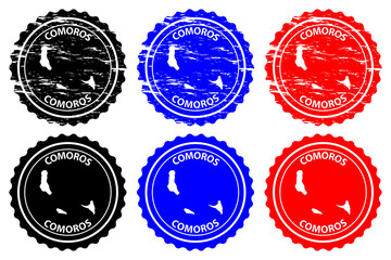 Comoros - rubber stamp - vector, Union of the Comoros map pattern - sticker - black, blue and red