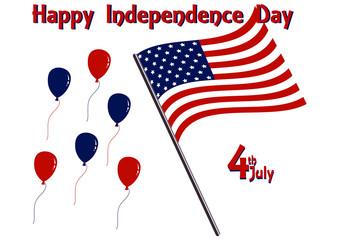 Independence Day - Design mit Landesflagge, Luftballons und Text. Vektordatei, Eps 10