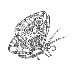Mechanical butterfly animal engraving vector