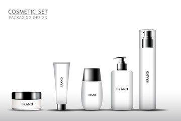 Product mock up design. Cosmetic set on the white background. Vector illustration EPS10