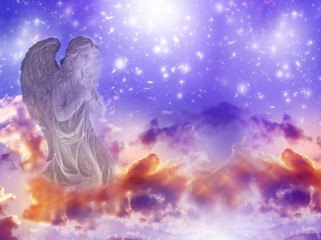 Wall Mural - angel archangel Gabriel, Haniel, Ariel over purple mystical sky with stars