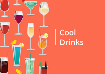 Cool Drinks Set of Tropical Cocktails Orange Juice