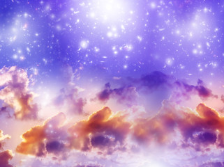 Wall Mural - mystical spiritual angelic divine background with clouds, stars  in purple tonality