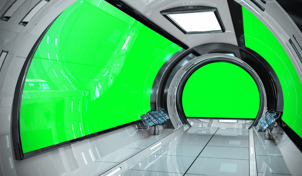 Spaceship bright interior with 3D rendering