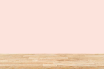Empty wooden desk of free space and colour pastel for a catering or food background,Template mock...