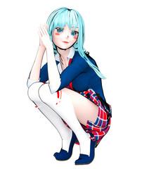 3D sexy anime doll japanese anime schoolgirl big blue eyes and bright makeup. Skirt cage. Cartoon, comics, sketch, drawing, manga illustration. Conceptual fashion art. Seductive candid pose.