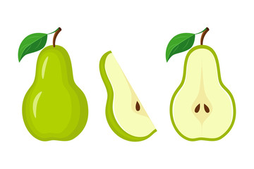 Whole green pear, half pear and  slice vector illustration isola