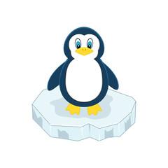 Cute cartoon penguin on ice.  Vector illustration. Arctic animal