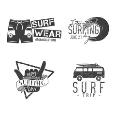 Vintage Surfing Graphics and Emblems for web design or print. Surfer logo templates. Surfing Graphics Templates, Badges. Summer fun. Surfboard elements. Outdoors activity. hipster insignias