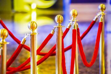 luxury ball head gold pole barricade with red velvet.