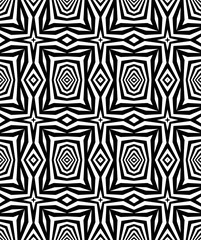 Seamless geometric pattern with a optical illusion in a black - white colors