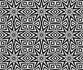 Seamless geometric pattern with a eight-pointed stars in a black - white colors