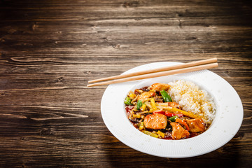 Chicken meat with rice and vegetables