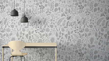 Minimalist architect designer concept, table desk and chair, kitchen or office with lamps on floral wallpaper background, white and gray interior design idea with copy space
