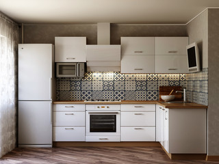 White kitchen contemporary style, 3d images