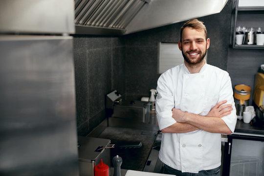Happy Cook In Restaurant Kitchen