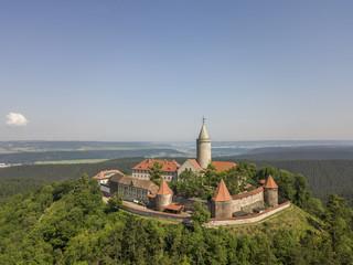 Aerial view of Leuchtenburg castle in Thuringia