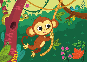 Cute monkey boy swinging on a vine in the jungle. Vector illustration.