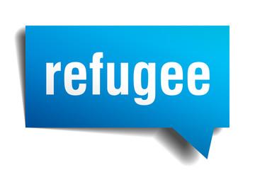 refugee blue 3d speech bubble