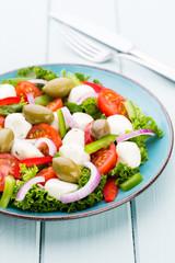 Vegetable salad with cheese mozzarella, tomatoes, basilikum and spice.