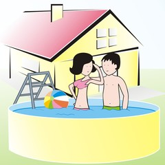 swimming pool with ladder on the garden, lady and man by house
