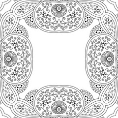 Vector template zentangle frame floral mandala for decorating greeting cards, coloring books, art therapy,  wedding invitation, brochure, flyer, poster, packaging, textile, notebook, cover.