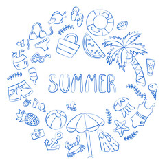 Summer. Lettering and various summer elements drawing hands. Card in doodle and cartoon style. Vector. EPS 8