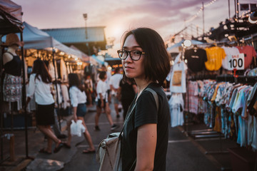 Asian woman shopping in Night Market
