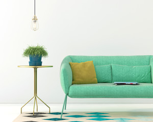 Interior with a green sofa