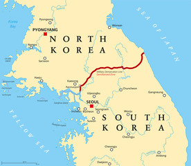 Korean Peninsula, Demilitarized Zone, political map. North and South Korea with Military Demarcation Line, capitals, borders, most important cities and rivers. English labeling. Illustration. Vector.