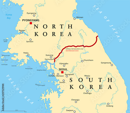 Korean Peninsula, Demilitarized Zone, political map. North and South on mongolian plateau map, yellow sea map, florida bay map, indonesia map, taklamakan desert map, gulf of tonkin map, luzon strait map, pacific ocean map, mu us desert map, tatar strait map, qinghai lake map, bo hai map, goryeo map, korea water park, monaco bay map, mexico bay map, korean empire map, grand canal map, south bay map, mekong river map,