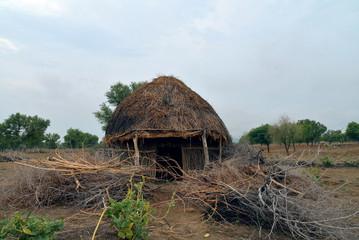 Hut in rainy season