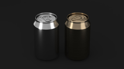 Two small gold and silver aluminum soda cans mockup on black background