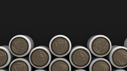 Big white soda cans on black background