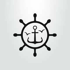 black and white simple flat art vector symbol of sea anchor in a sea helm frame
