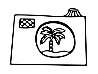Black line vector photo camera with pictures with palm and sun