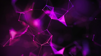 Abstract purple background with connecting dots and lines. Structure and communication. Plexus...