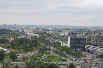 Minsk streets from a bird's-eye view. Flight of a quadrupter.