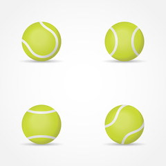 Set of tennis balls isolated on white background. Vector illustration.