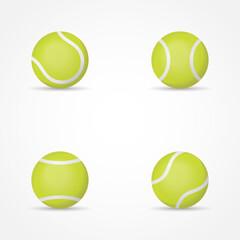 Set of tennis balls isolated on white background. Vector illustration.
