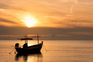 Sunset Over the Sea with Fishing Boat , Beautiful Nature Background from Hua Hin Thailand