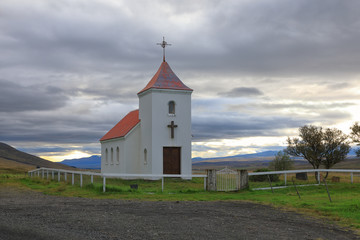Small wooden rural Church in Iceland