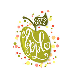 Hand sketched apple lettering typography.